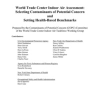World Trade Center Indoor Air Assessment:  Selecting Contaminants of Potential Concern and Setting H
