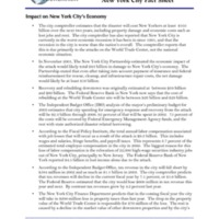 ECONOMIC IMPACT OF TERRORIST ATTACK: New York City Fact Sheet
